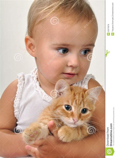 cute child cute child with a cat royalty free stock image image