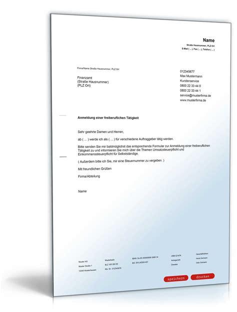 Anmeldung Brief Beispiel anmeldung freiberufliche selbstst 228 ndige t 228 tigkeit muster