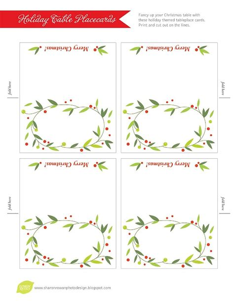 free printable christmas place cards template search