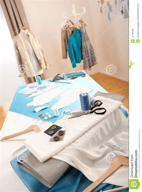 clothes design equipment fashion designer studio with mannequin royalty free stock