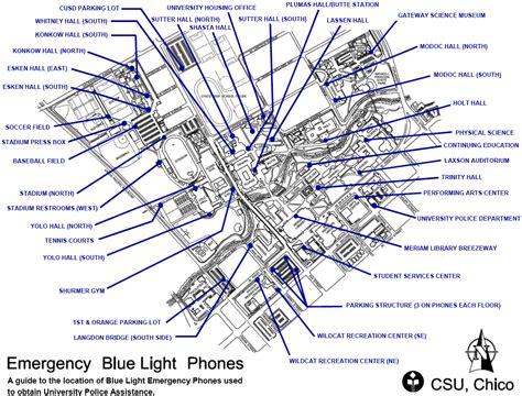 chico state map blue light phones csu chico