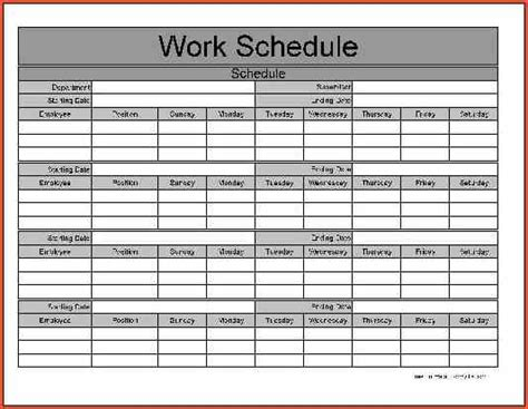 Monthly Work Schedule Template Task List Templates Sle Work Schedule Template