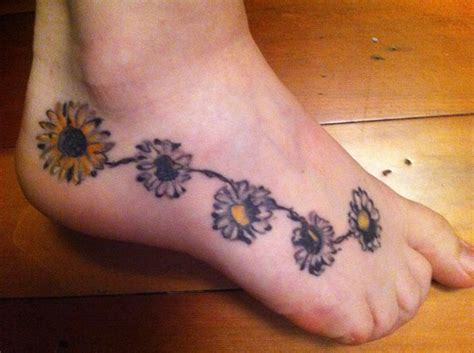 daisy chain tattoo designs on foot chain and sunflower tattoos