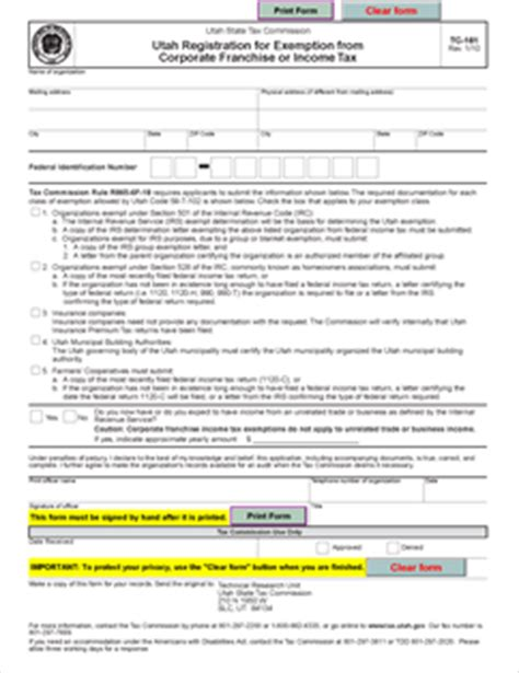 Irs Section 528 by Form Tc 161 Fillable Utah Registration For Exemption From
