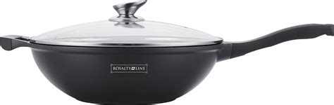 Wok Marble Firewall 32 Cm royalty line rl bw32m marble coating wok with glass lid 32 cm royalty line rl bw32m wholesale