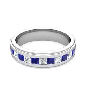 mens sapphire wedding rings princess cut sapphire mens wedding band platinum
