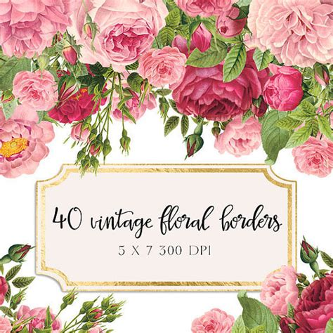 Personalized Wedding Vase Vintage Floral Borders Clipart Shabby Chic Clipart Flowers