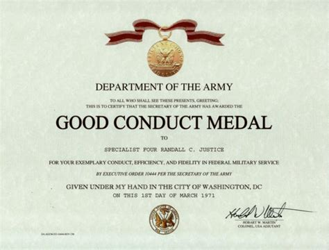 army conduct medal certificate template army conduct medal certificate template index of