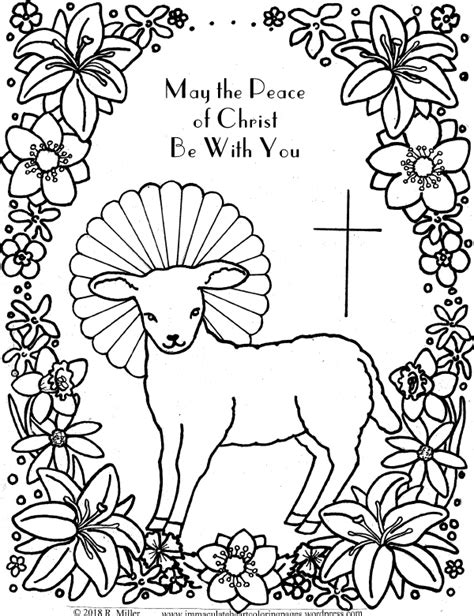 lamb  god easter coloring page immaculate heart