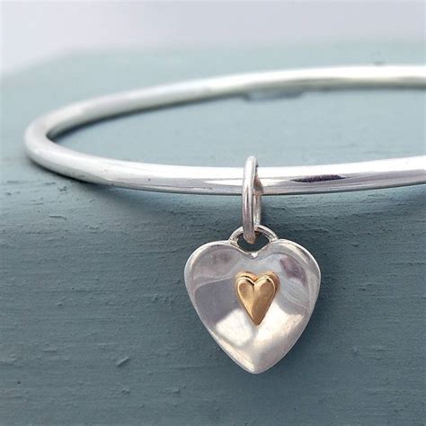 Handmade Silver - flutter sterling silver and gold bangle by alison