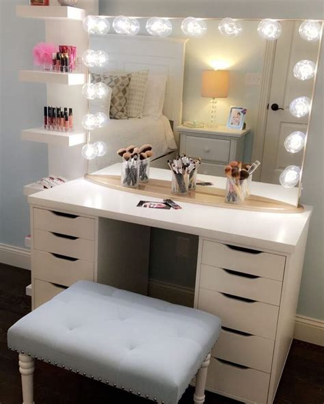 Makeup Vanities For Bedrooms With Lights Best 25 Ikea Makeup Vanity Ideas On Vanities In For Bedroom With Lights Set Regard To