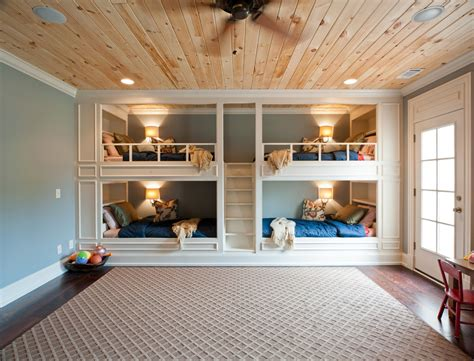 Childrens Bedroom Reading Lights by Rustic Built In Bunk Beds Traditional With Built In