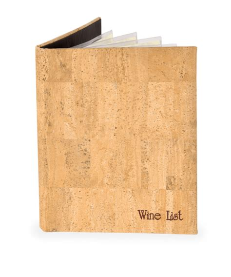 genuine cork wine list covers menu shoppe