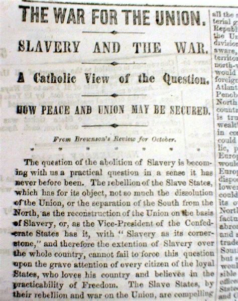 Civil War 1861 Essay 1861 civil war newspaper w essay the catholic church position on slavery