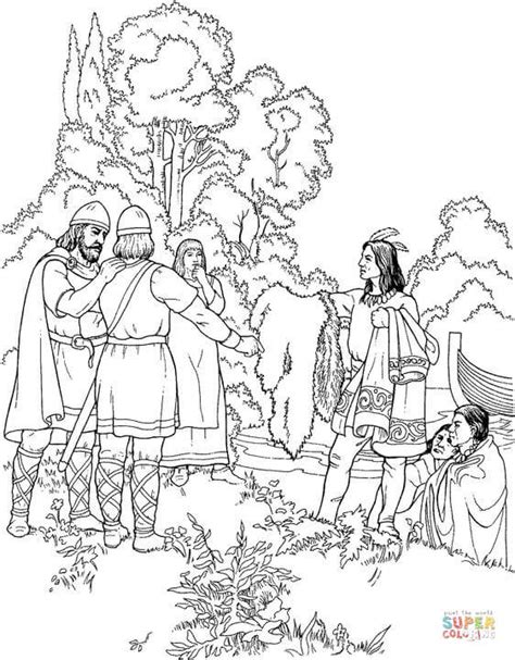 coloring page viking indians are offering gifts to vikings coloring page free