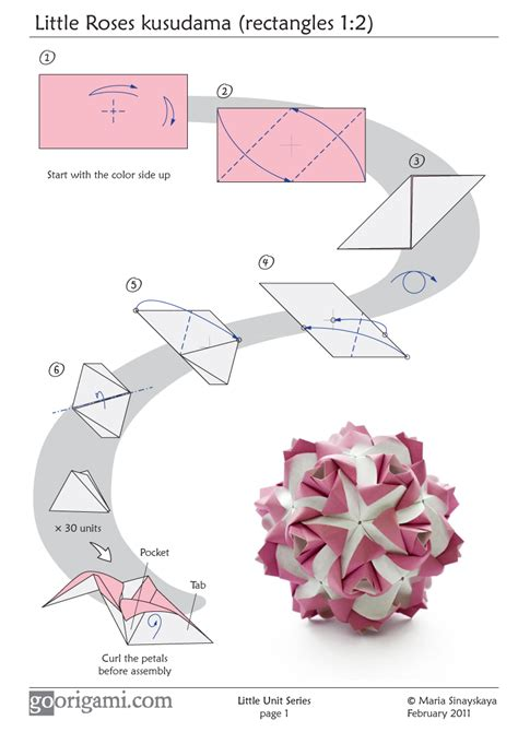 Origami Flower Diagrams - roses kusudama diagram