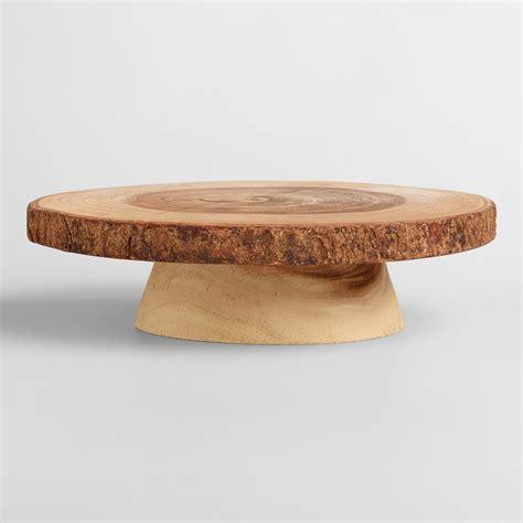 Wood Pedestal Stand Wood Bark Pedestal Stand World Market