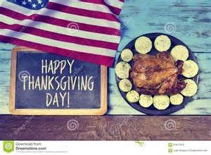 text happy thanksgiving day and roast turkey stock photo image 61871914