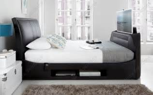 Black Leather King Size Bed With Mattress Kaydian Maximus Black Leather Tv Bed With Soundbar King Size