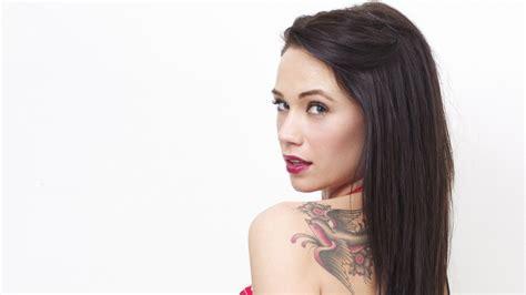 Full HD Wallpaper tattoo bird long hair lipstick brunette