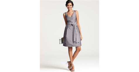 Gray Silk Dress 20738gym lyst silk dupioni vneck bridesmaid dress in gray