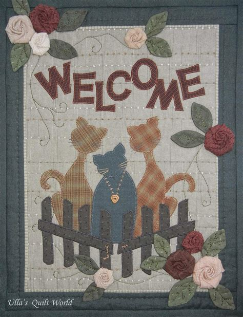 cat applique pattern wall hanging cats wall hanging quilt ulla s quilt world bloglovin
