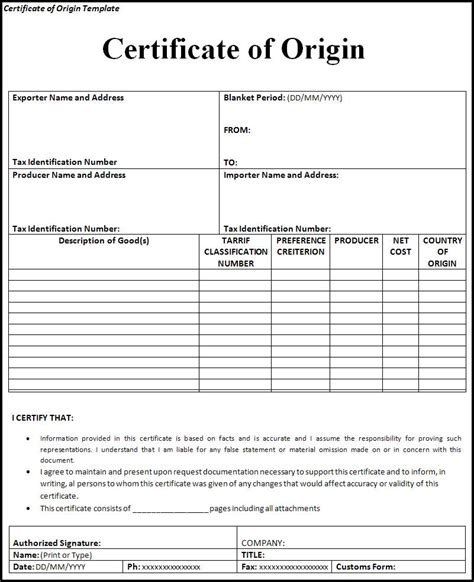 Certificate Of Origin Template Free certificate of origin template word templates