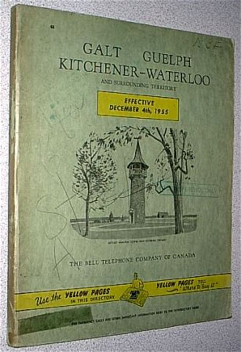 telephone books 1955 galt guelph kitchener waterloo - Yellow Pages Kitchener Ontario