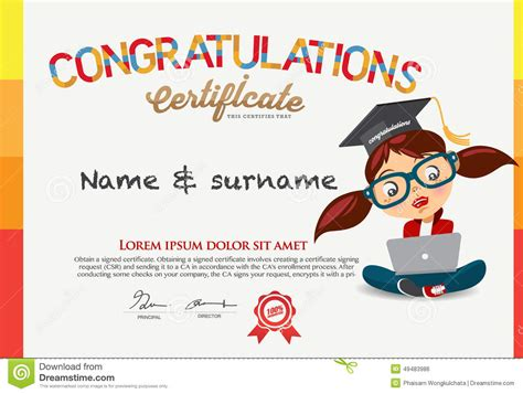 templates for english certificates vector certificate for school children template stock