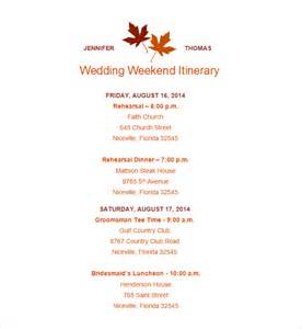 Wedding Itinerary Template by Wedding Itinerary Template 11 Free Word Pdf Documents