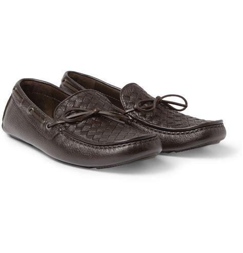 bottega veneta shoes bottega veneta intrecciato leather driving shoes in brown
