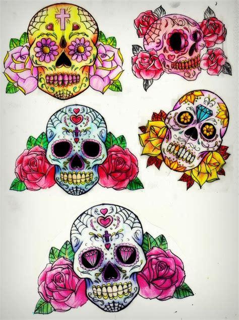 sugar skull and rose tattoo sugar skull sleeve pencil and in color