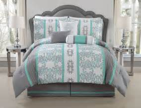 King Size Bed In A Bag Sets Under 50 7 Piece Alieli Gray Mint Comforter Set Ebay