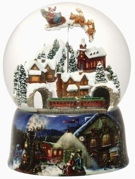 musical animated victorian christmas village snow globe