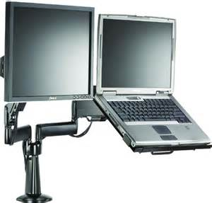 Laptop Desk Mounts Chief Kgl220 Height Adjustable Monitor Laptop Dual Arm Desk Mount