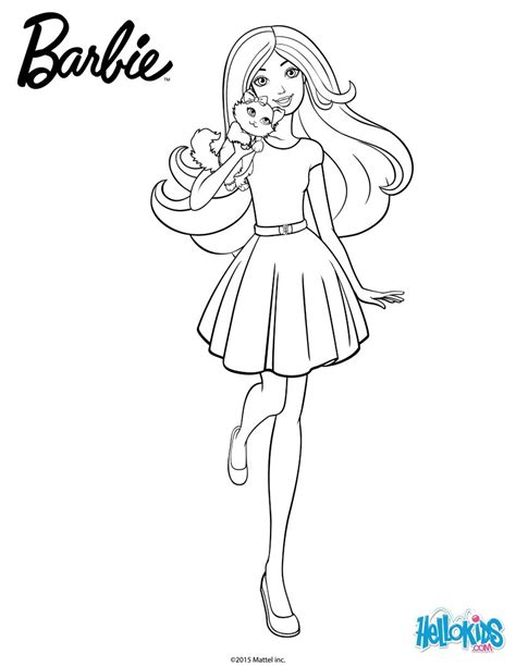 cute barbie coloring pages barbie with her cuddly kitty coloring pages hellokids com