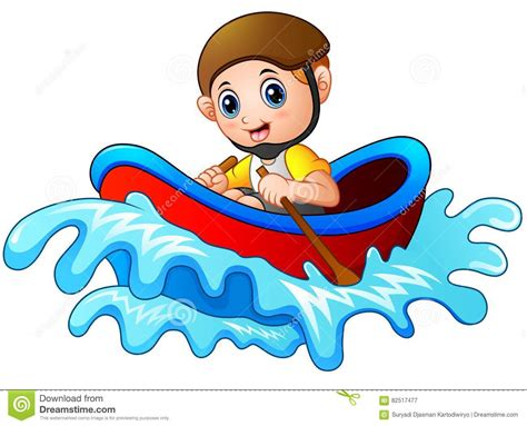 cartoon boat illustration cartoon little boy rowing a boat on a white background
