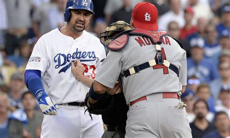 mlb benches clear benches clear in nlds after adam wainwright plunks yasiel