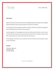 Appointment Letter Template Free 5 Appointment Letter Formats Sles For Word
