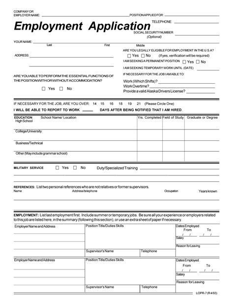 printable employment application pdf search results for blank employment application form