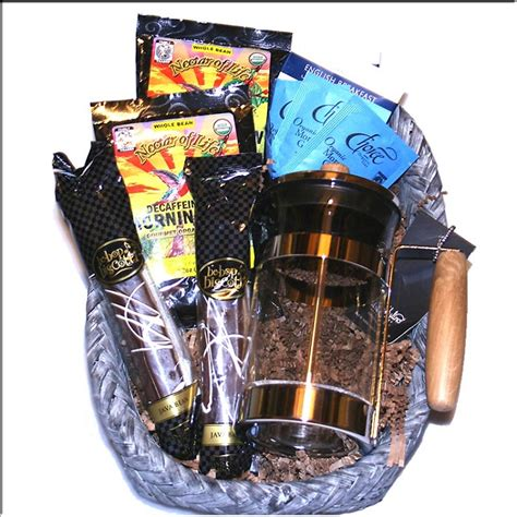 Fair Trade Organic Coffee Gift Basket with a French Press Coffee Maker and Gourmet Treats!
