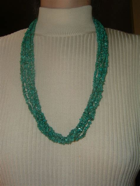 vintage turquoise bead multi strand necklace from