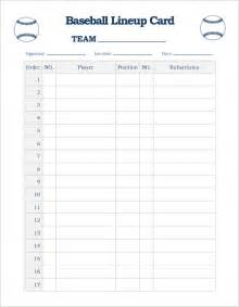 baseball lineup template baseball line up card template 9 free printable word