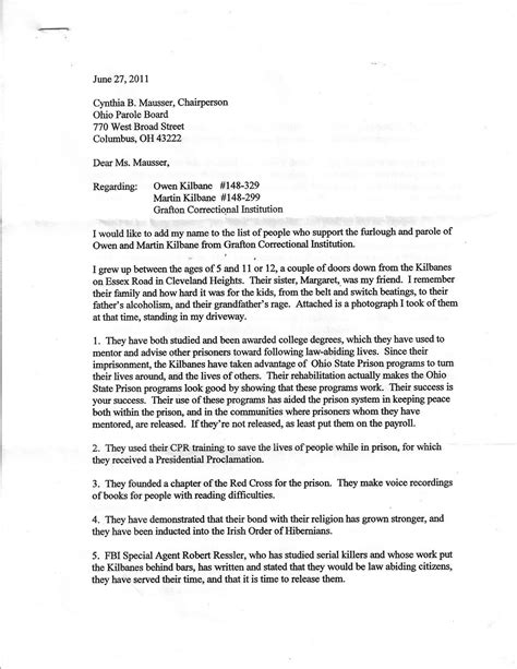 Support Letter Exle For Parole Sle Letter To Parole Board Best Letter Sle