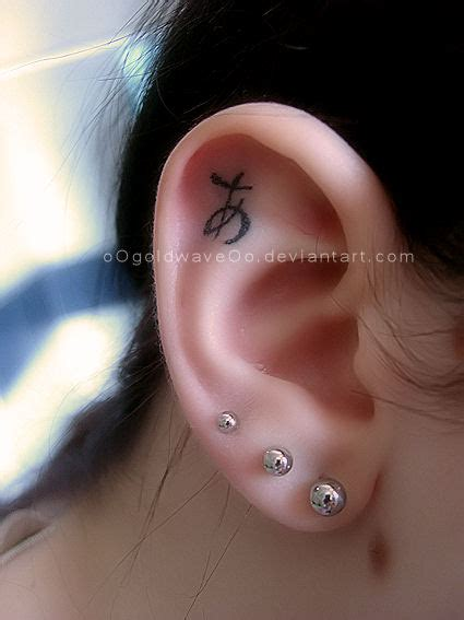 Japanese Ear Tattoo By Oogoldwaveoo On Deviantart The Ear Tattoos Pictures