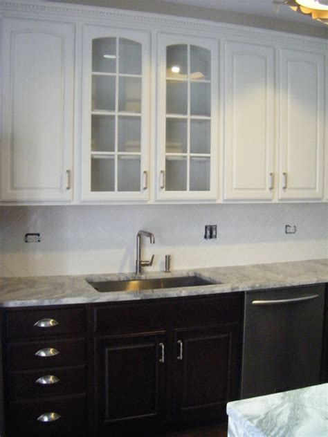 painted cabinet upper  stained base cabinets