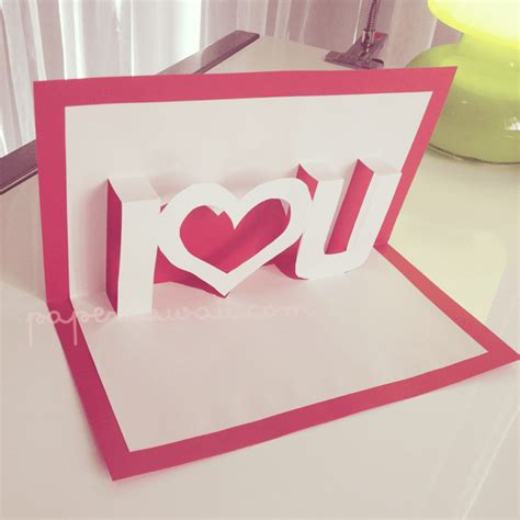 3d I You Pop Up Card Template by Pop Up Card Tutorial Valentines Day Paper Kawaii