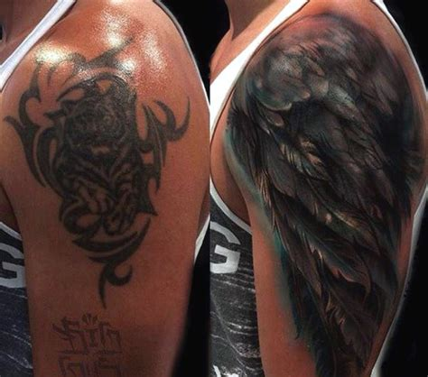 shoulder cover up tattoos for men top 100 best wing tattoos for designs that elevate