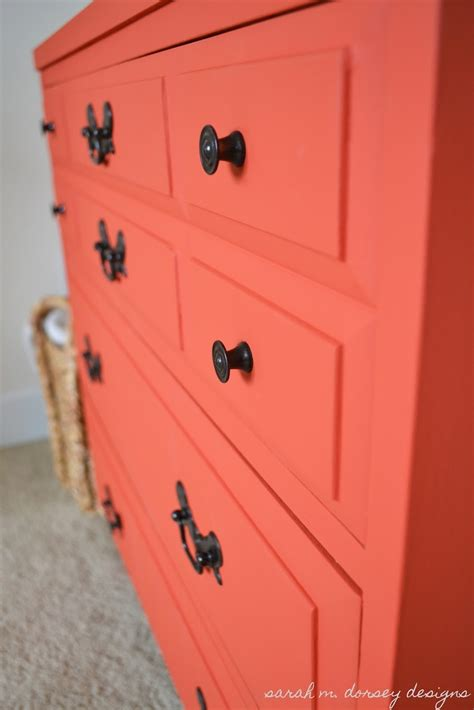 coral colored chalk paint dresser some coral orange pinter