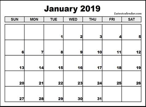 Free Printable January 2019 Blank Templates Latest Calendar Free Calendar Template 2019